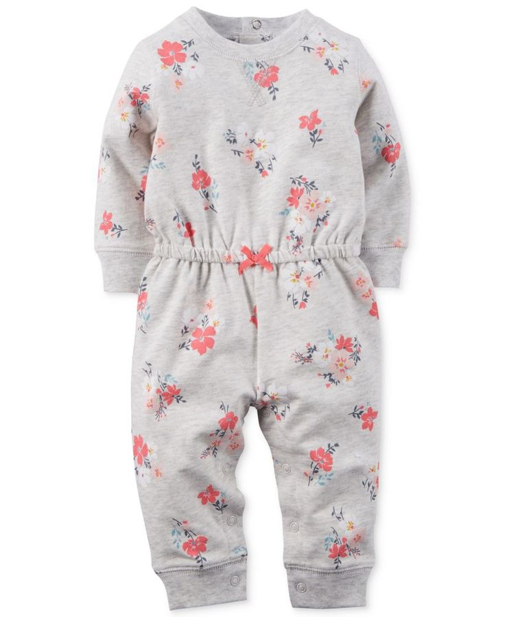 """Carter's Girls Grey/Pink Floral Print French Terry Coverall with Drawstring Waist - Carters - Babies """"R"""" Us"""