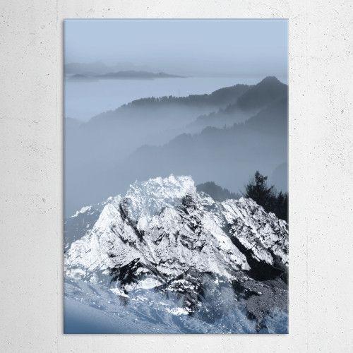 FOGGY BLUE MOUNTAINS by Pia Schneider | Displate  #art #mountains #blue #winter #landscape #nature #snow #marble #rocks #collage #adventure #navy #piaschneider #metalpritns #displate #metalcanvas #artprints #wallart #wallartdecor #kunst #pia #dierscheid