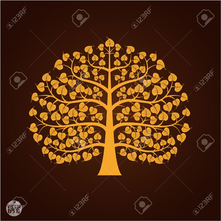 Golden Bodhi Tree Symbol, Vector Illustration Royalty Free ...