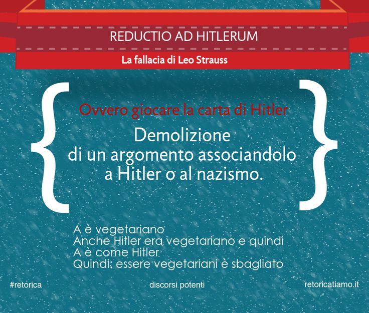 Esempio di fallacia, gennaio 2015  Reductio ad Htlerum, Leo Strauss http://discorsipotenti.blogspot.it/ https://www.facebook.com/DiscorsiPotenti http://www.retoricatiamo.it/ #retorica #dicorsi #publicspeaking
