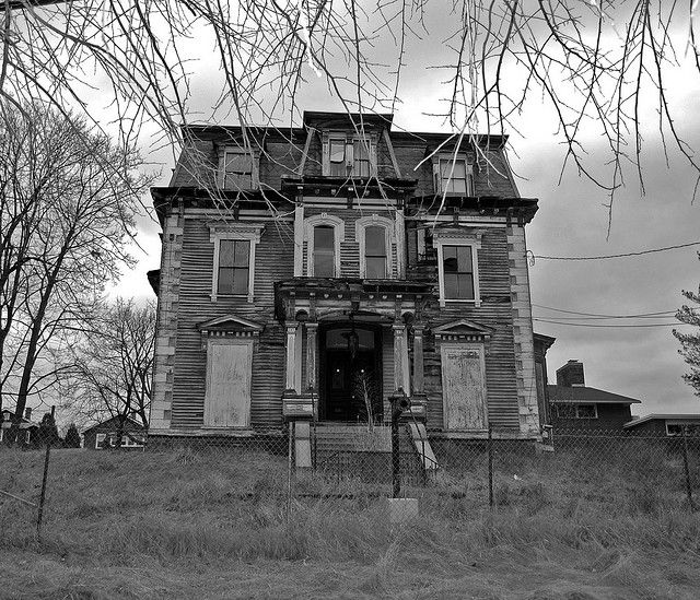 Found this abandoned house that looked haunted. Watertown, Mass.  View On Black