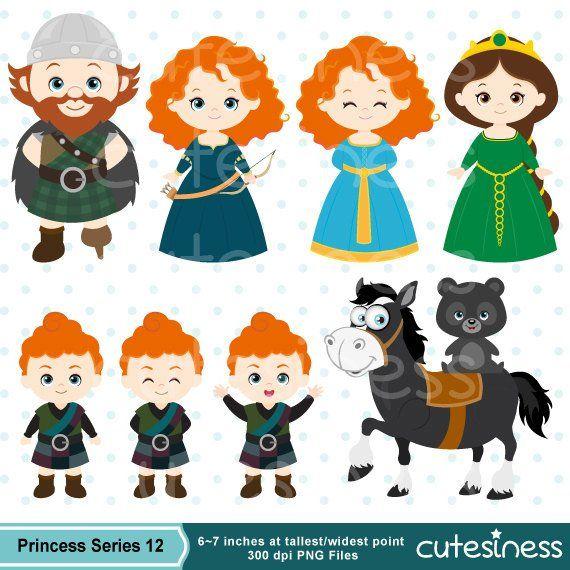 Princess Digital Clipart Princess Clipart Brave Clipart Etsy In 2020 Digital Clip Art Clip Art Disney Brave