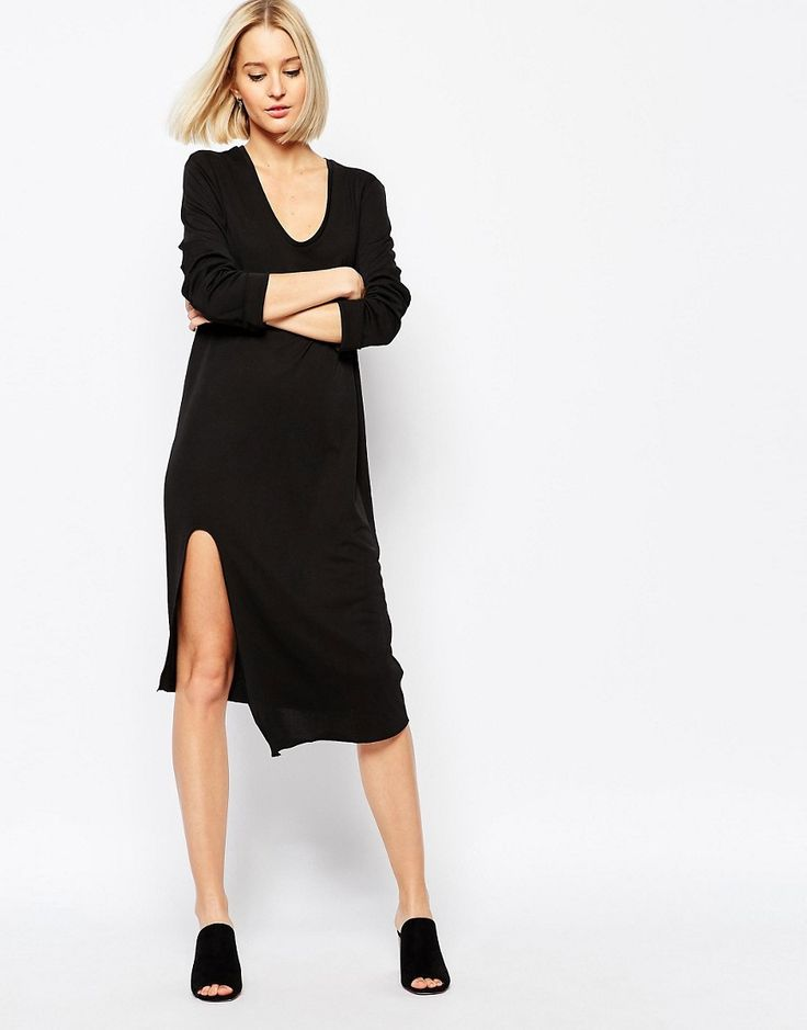 Image 4 ofWeekday Dress With Front Slit Detail