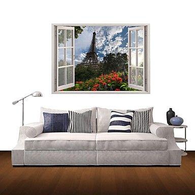 3d наклейки для стен наклейки на стены, Эйфелева башня домашнего декора виниловые наклейки для стен – RUB p. 2 072,03
