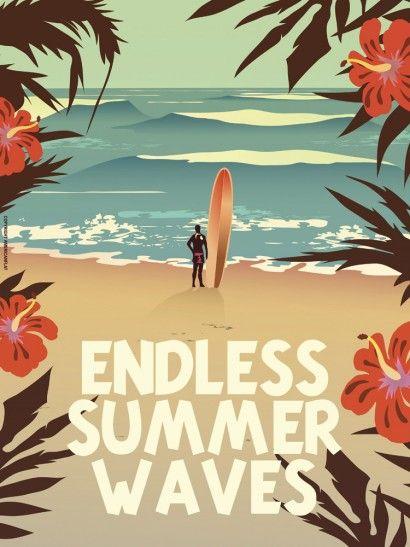 Endless Summer Waves - American Flat | Crie seu quadro com essa imagem https://www.onthewall.com.br/endless-summer-waves #quadro #decoracao #decoração #moldura #canvas