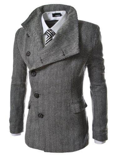 TheLees Mens Unbalance High Neck Slim PEA Coat Jacket Herringbone. Sharp looking.