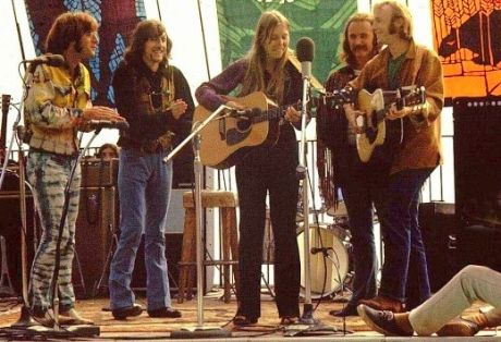 John Sebastian, Graham Nash, Joni Mitchell, David Crosby and Stephen Stills | Photo by Robert Altman taken in September 1969 during the Big Sur Folk Festival.