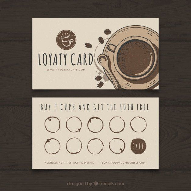 Free Loyalty Card Template Inspirational Coffee Shop Loyalty Card Template With Elegant Stye Vect Loyalty Card Coffee Loyalty Card Design Loyalty Card Template