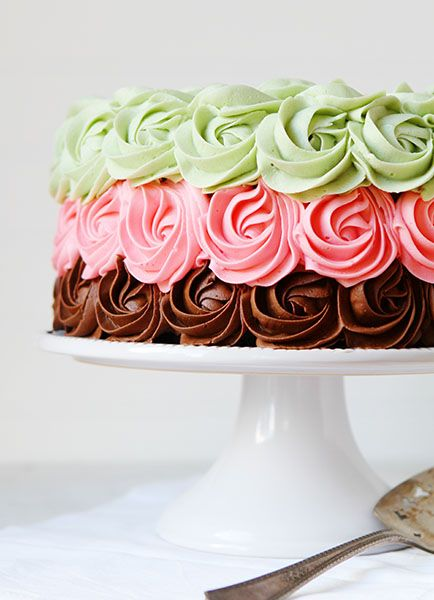 Spumoni Rose Cake! The rosettes on this cake is amazing! | I Am Baker #cakes #desserts