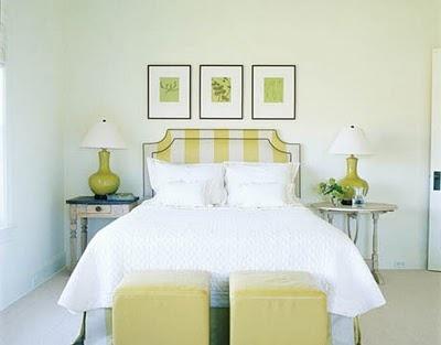 headboard and ottomansGuestroom, Decor Ideas, Guest Bedrooms, Bedrooms Design, Master Bedrooms, Guest Rooms, Upholstered Headboards, Bedrooms Ideas, Stripes Headboards