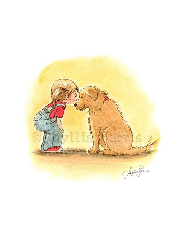 First Love Illustration - Little Girl and Golden Retriever - Beloved Pet Art