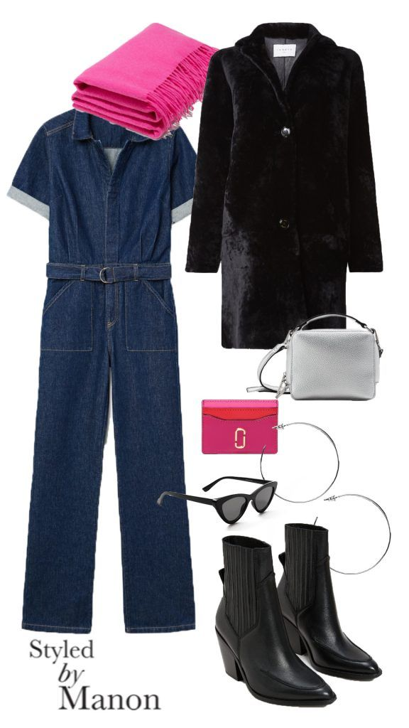 Denim jumpsuit, cowboy boots, long coat, pink scarf - Outfit Styled by Manon #whattowear