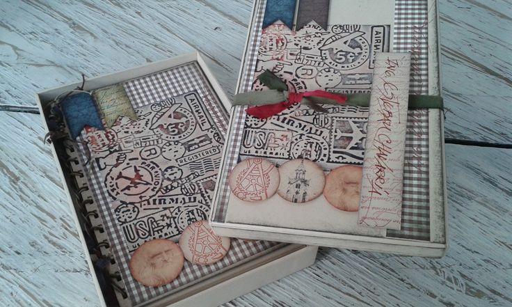 Libretas hechas a mano en Vintage y Scrap, tamaño media carta, presentadas en caja decorativa con tarjeta marcada en caligrafía con pluma. Diseños Marta Correa Blog: 321 643 63 84 Cel: 321 643 63 84