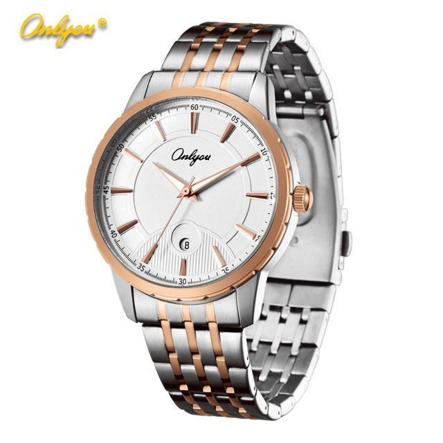 Onlyou 2016 Hot Calendar Watches Rose Gold Stainless Steel Watch Waterproof Quartz Wristwatches Luxury Watches Gold Men Ladies Classic Watch Online with $16.98/Piece on Cathywang168's Store | DHgate.com