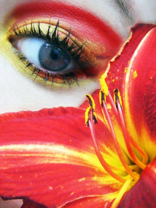 : Colorful Makeup, Eyeshadow, Red Eyes, Style, Color Red, Seele Eyes, Glamorous Makeup, Lily Eyes, Flower