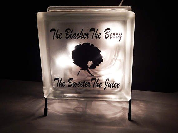 Blacker The Berry Glass Block Lights Night lite Shop Decoration Afrocentric Home Decor The Sweeter The Juice African Decor Frosted Lighted by TheBlackerTheBerry