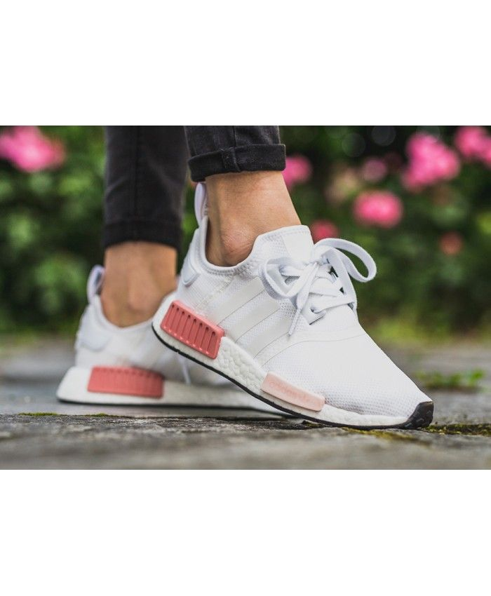 Cheap Adidas NMD R1 Trainers In White Rose Sale Clearance