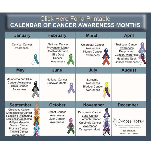 Monthly Calendar Health Awareness : Best images about cancer awareness on pinterest