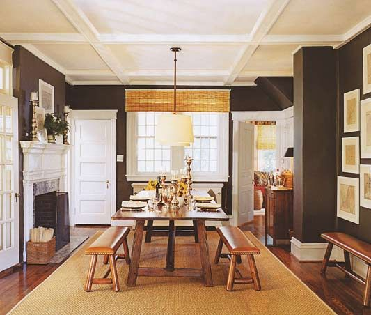 chocolate brown walls+farmhouse table. photo by christopher baker: Dining Rooms, Interior Design, Ideas, Ceiling, Wall Color, Living Room, Kitchen, House