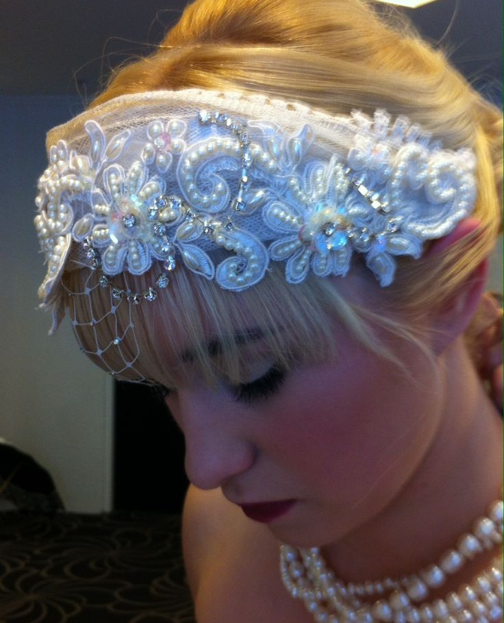 Pearl encrusted headband with diamanté chain and blinged petite old english veiling. www.margotarderndesigns.com