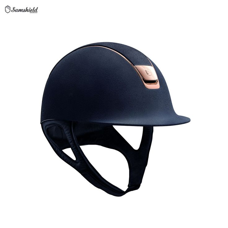 Samshield Premium Navy Riding Hat with Alcantara Top and Rose Gold Trim