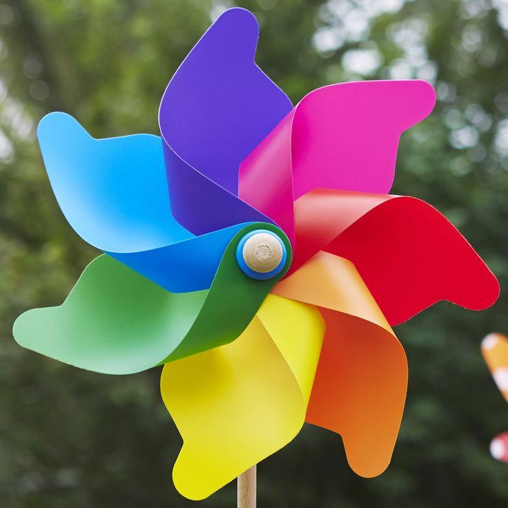 Grande Rainbow up close looking beautiful! #whirlywindmills #pinwheels #celebration #decoration #party #colour #rainbow