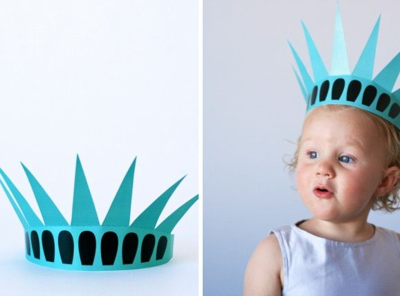Free Printable Statue of Liberty Crown at PagingSupermom.com - flat version on a NY scrapbook
