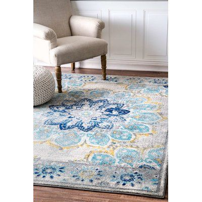 Bungalow Rose Ronan Blue Area Rug Rug Size: 9' x 12'