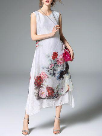 Linen Printed Sleeveless Resort Midi Dress