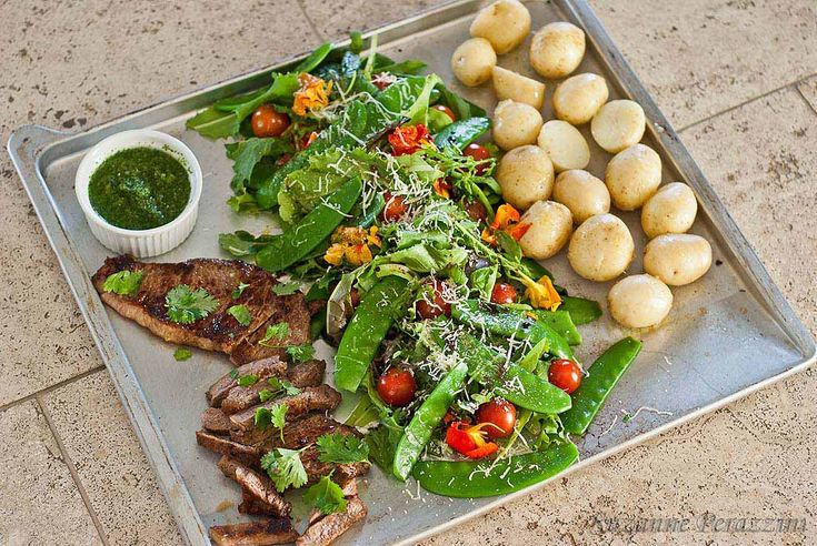 Beef Chimichurri, New Potatoes & Crunch Salad  #justeatrealfood #strandsofmylife