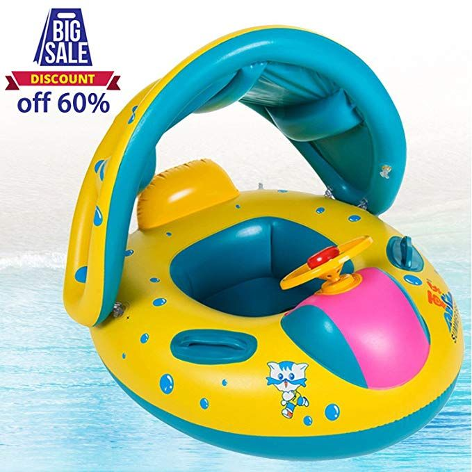 Baby Swimming Rings Inflatable Baby Pool Float With Sunshade Seat With Horn Big Size Review Inflatable Baby Pool Baby Pool Floats Baby Swimming