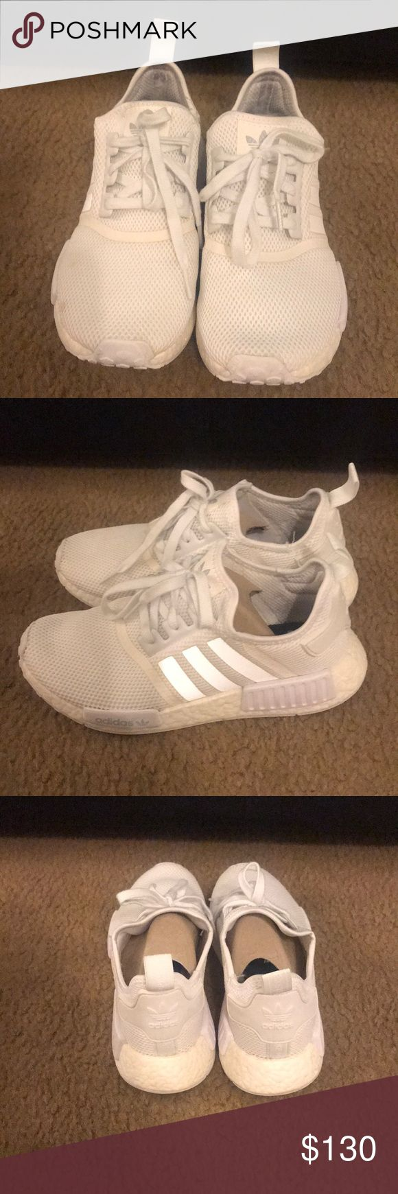 Adidas NMD R1 triple white 8.5 original box inc. Adidas NMD R1 triple white 8.5 original box inc. S79166 You can still buy these new for $230 online in lucky situations and certain sizes. These have been worn about a dozen times max. Good condition. Cardboard inserts included in box. Well taken care of. adidas Shoes Sneakers