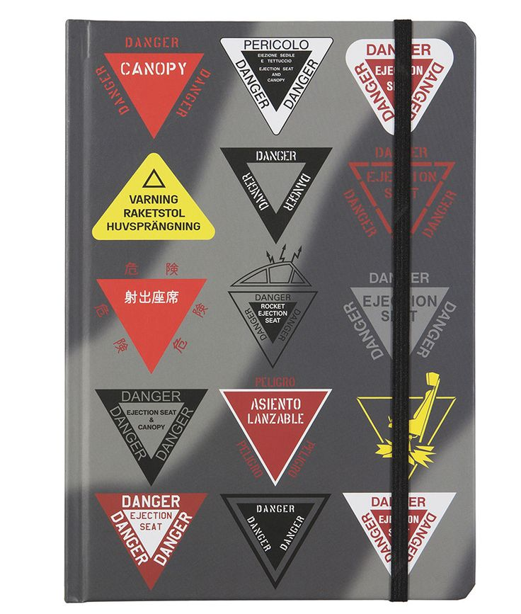Danger Ejection Seat A5 Notebook A selection of ejection seat warning signs from the world's air forces and military aircraft by Basic Six Folds flat for ease of use and has a mixture of plain and lined pages. Great for sketching and calculating that aeroplane you always dreamt of!