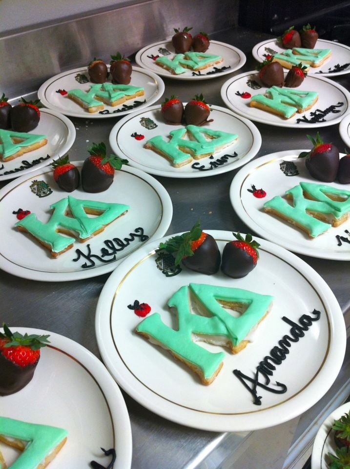These cookies bring back memories from recruitment!  These plate settings are much fancier and cuter