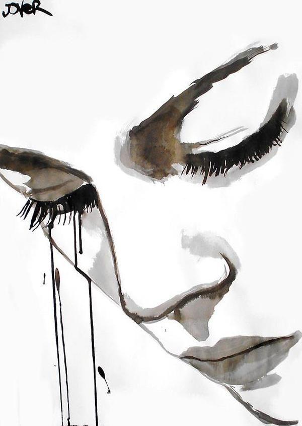 Ojos Cerrados Mujer Dibujo A Tinta Dibujos A Tinta Tinta China