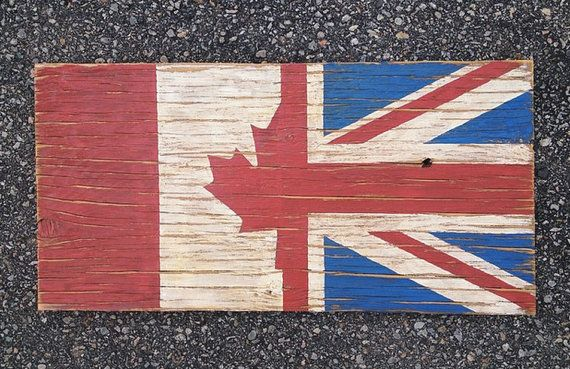 Half Canada Half Union Jack Wood Flag, Distressed, Decorative and in a Variety of Sizes!
