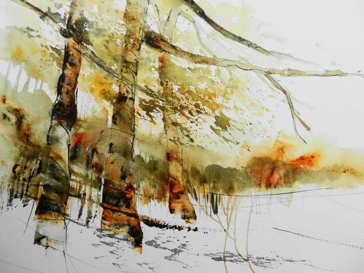 Aquarelle by Gerda Mentens   Art watercolor tree   Pinterest