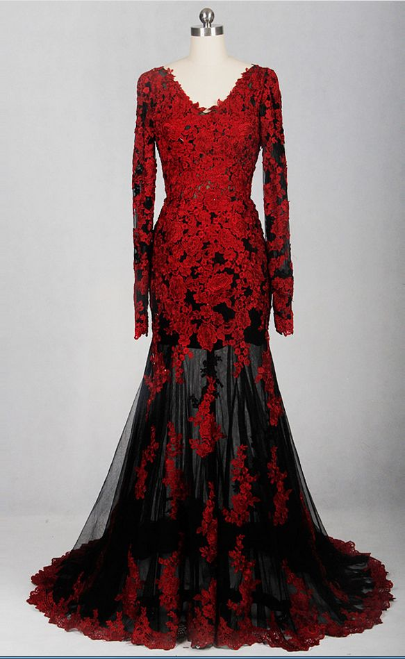 Red black perspective v-neck dress long-sleeved low-cut evening gowns, married the Appliques lace evening dress