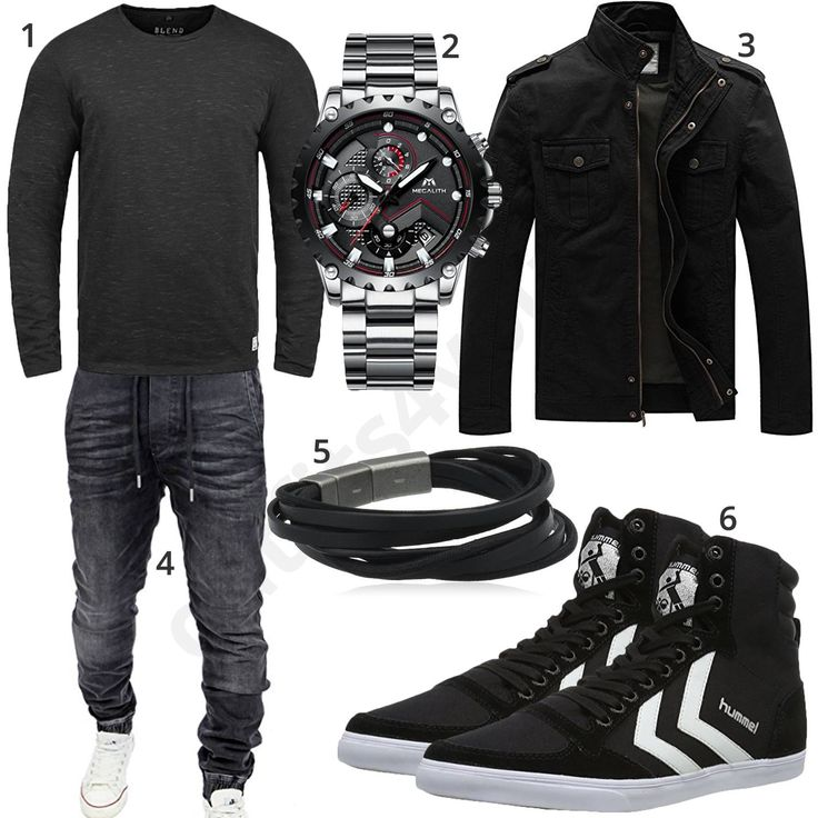 Black mens outfit with Blend knit sweater, Megalith chronograph, light transition jacket, Fossil leather strap, Reslad jogging jeans and high Hummel sneakers.  1. Pullover► amzn.to/2EH6r7m 2. Uhr► amzn.to/2EpfhUc (-64%)  3. Jacket► amzn.to/2Epfg2A (-40%)  4. Trousers► amzn.to/2Er02Oo (-50%) )  5. Bracelet► amzn.to/2Err8AU 6. Shoes► amzn.to/2He6JBc