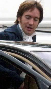 """Mr. Darcy off set. DERBYSHIRE NEWS: Mr. Darcy buys incredible new carriage called an """"automobile"""". No need for horses! 20,000 pounds.  -Edward Bradley, editor of Derbyshire news"""