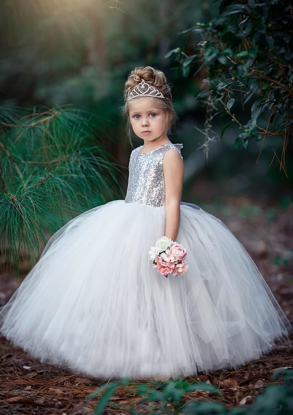 f1bc8f324ecd Bejeweled Classic Open Back | Silver Sequin. Beautiful Wait For Me Silver  Sequin Flower Girl Dress is made with silver sequin bodice and