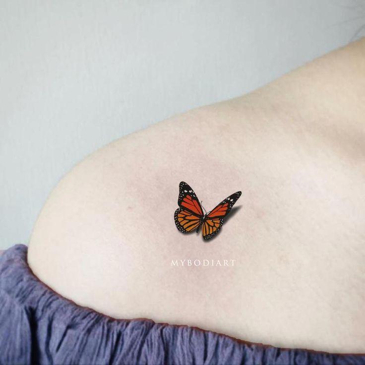 Flutter Small 3D Monarch Butterfly Tattoo