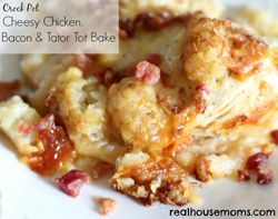 Crock Pot Cheesy Chicken, Bacon, & Tator Tot Bake  *did it in the oven instead @ 375 for an hour using precooked chicken. Adam approved! Maybe a little less milk next time or cream of chicken/mushroom.