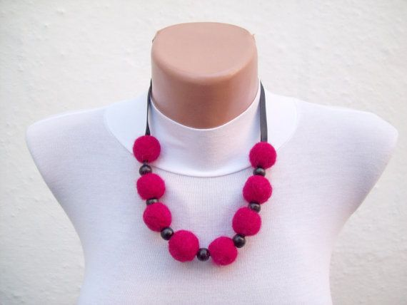 Felted Necklace Pink Black  Fall Fashion Holiday by nurlu on Etsy