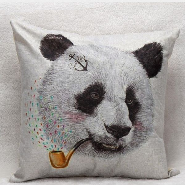 Panda Bear With Pipe Decorative Pillow Cover – PawzOutlet
