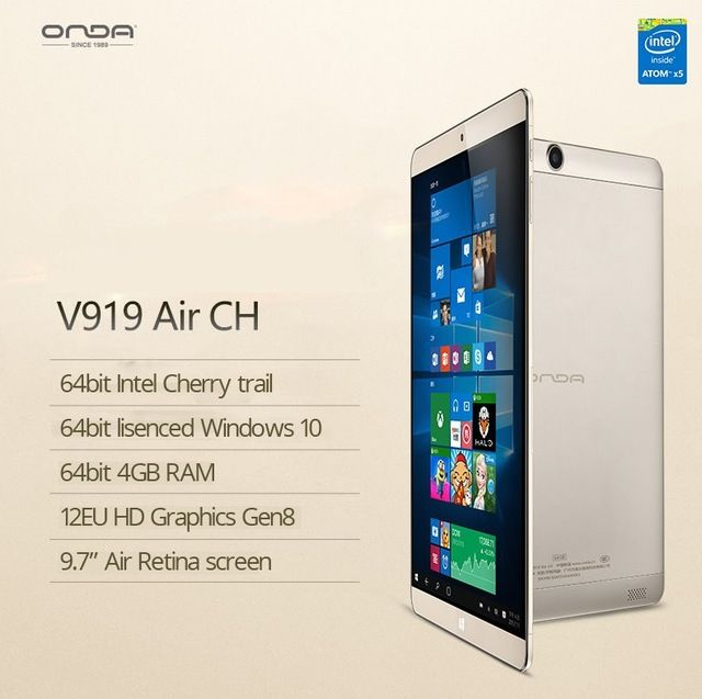 Original Onda V919 Air CH Intel Cherry Trail Atom X5 Z8300 4GB RAM 64GB ROM 9.7 inch IGZO Screen Windows 10 Bluetooth HDMI US $191.23-209.0 /piece To Buy Or See Another Product Click On This Link  http://goo.gl/EuGwiH