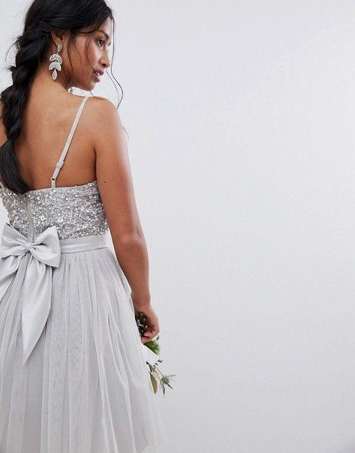 008e26f2 Maya Petite | Maya Petite Cami Strap Sequin Top Tulle Detail Mini  Bridesmaid Dress