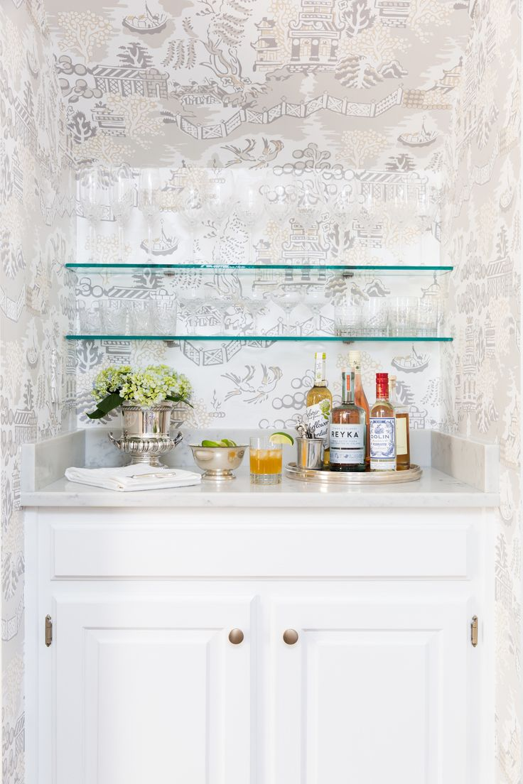 Built In Bar Design With Decorative Wallpaper And Open Shelving | Anna  Braund