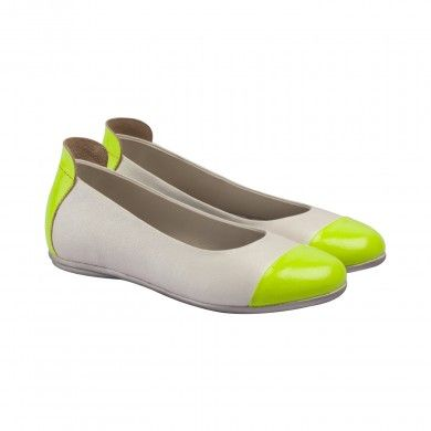 Neon Ballerinas - Lime.  These funky slip-ons will add a pop to any outfit. Made with fine grained soft Napa leather, these ballerinas are detailed with colorful and neon patent leather cap-toes and heel backs.