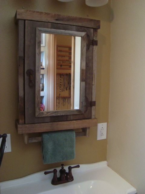 Reclaimed Rustic Medicine Cabinet With Mirror For The Home